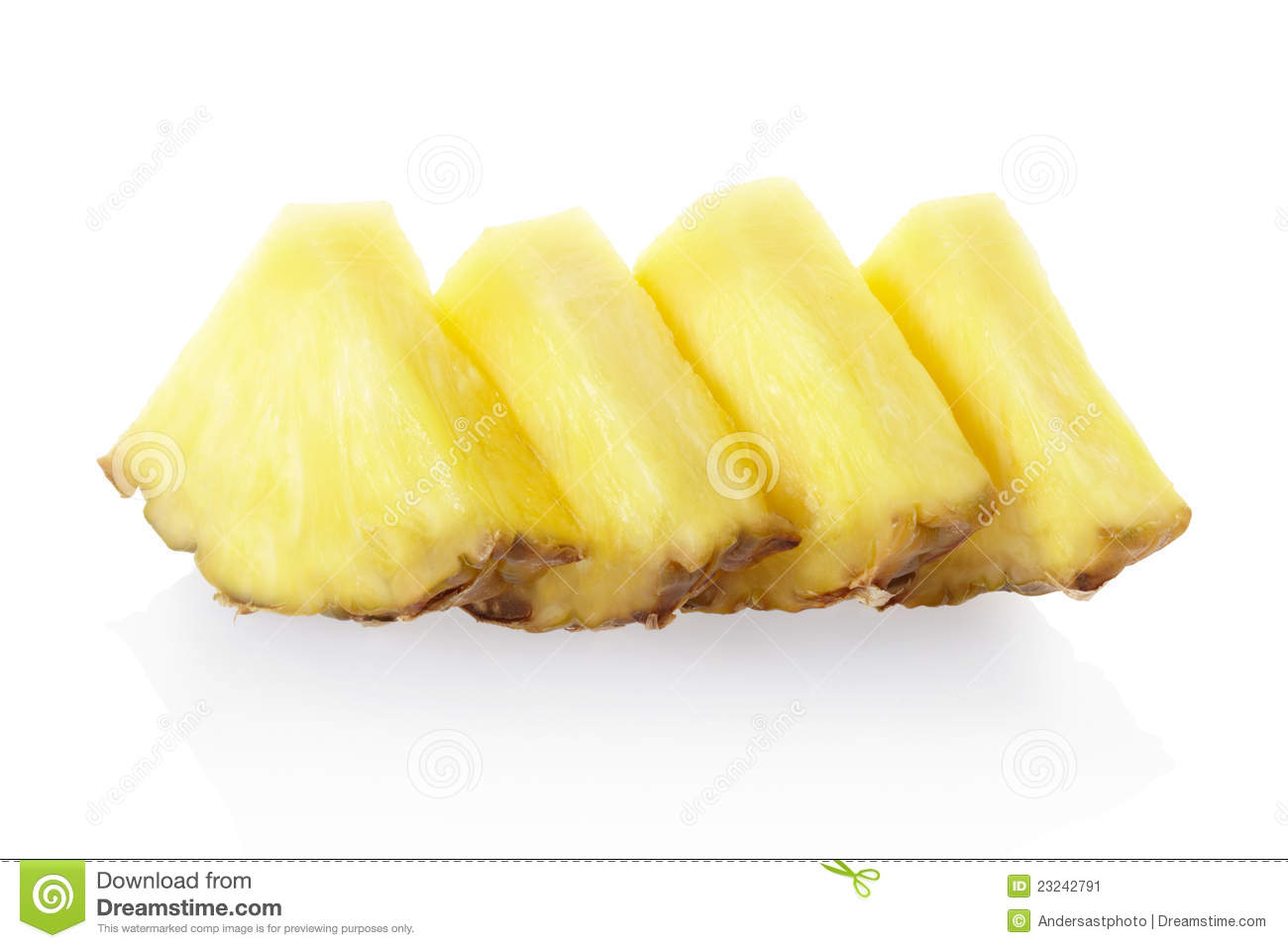 Pineapple slices on white, clipping path included.