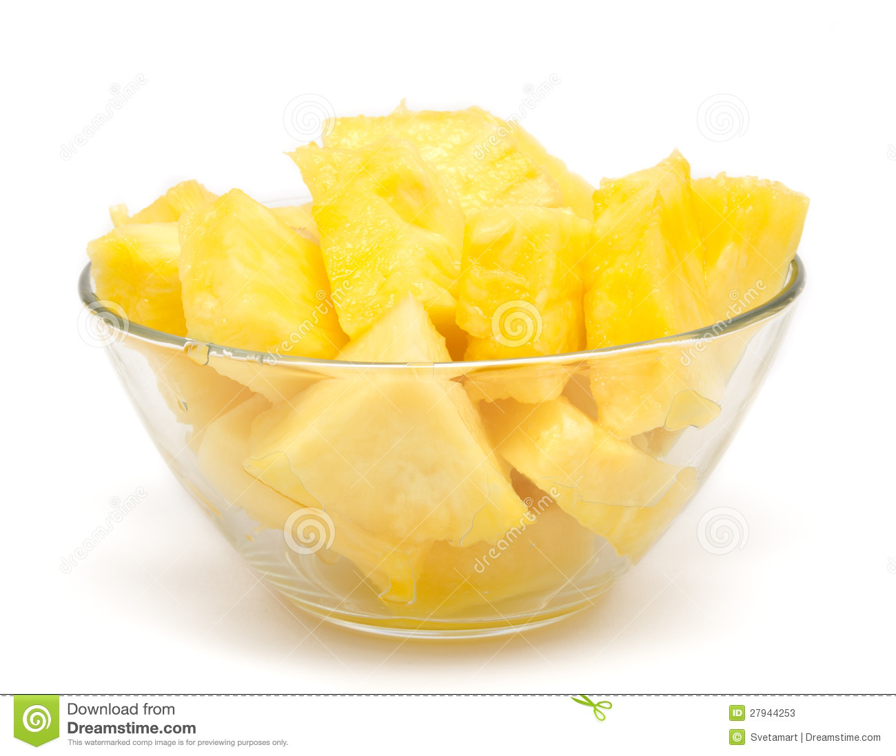 Pineapple Chunks In The Bowl Isolated Stock Photos - Image ...