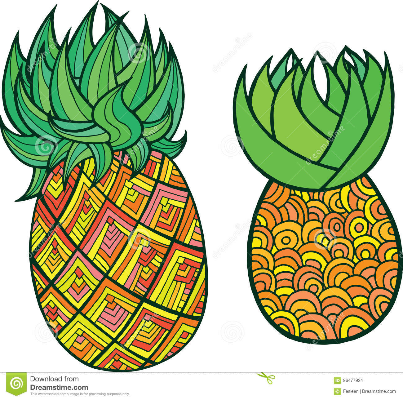 Pineapple Coloring Page. Graphic Vector Colorful Doodle Art For ...