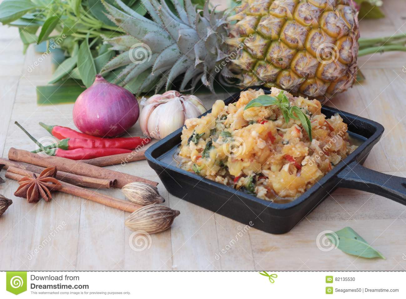 Pineapple Curry With Pork In Pan Delicious Stock Photo