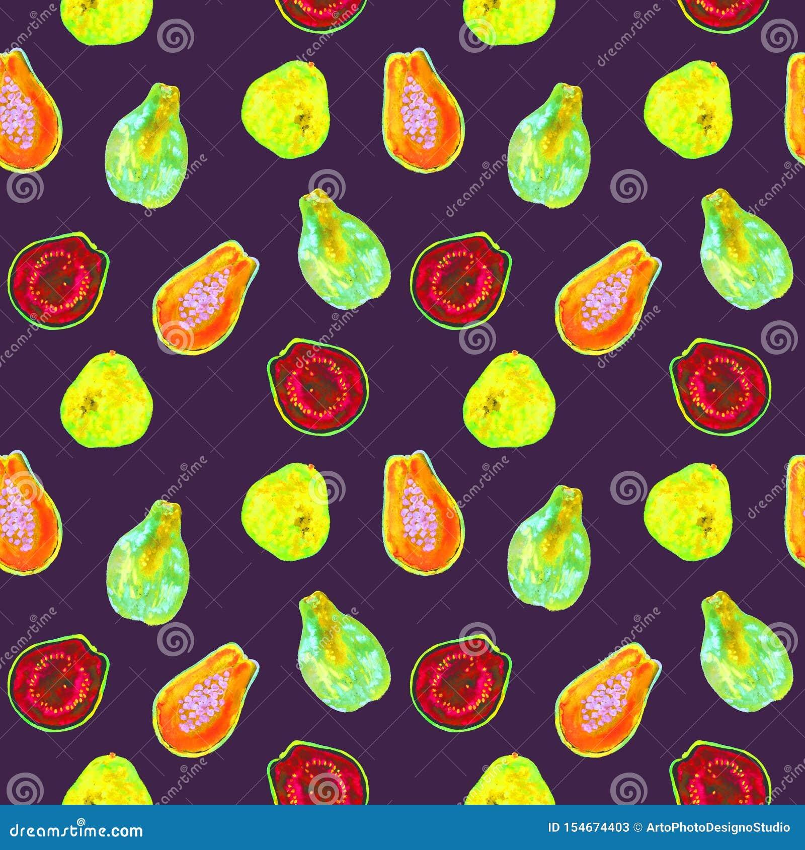 Papaya fruit Carica papaya and guava, half slice, seamless pattern design, hand painted watercolor illustration