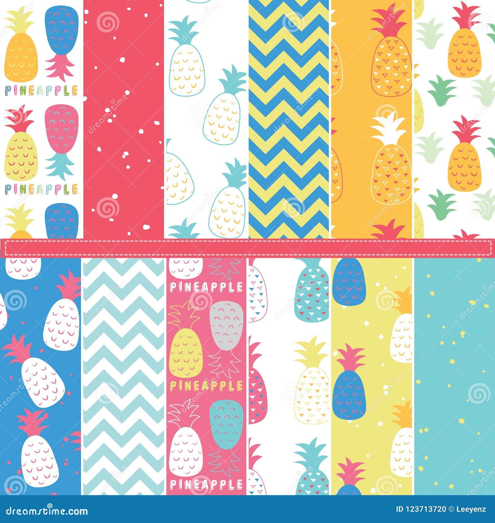 Pineapple Digital Paper Elements Stock Vector - Illustration