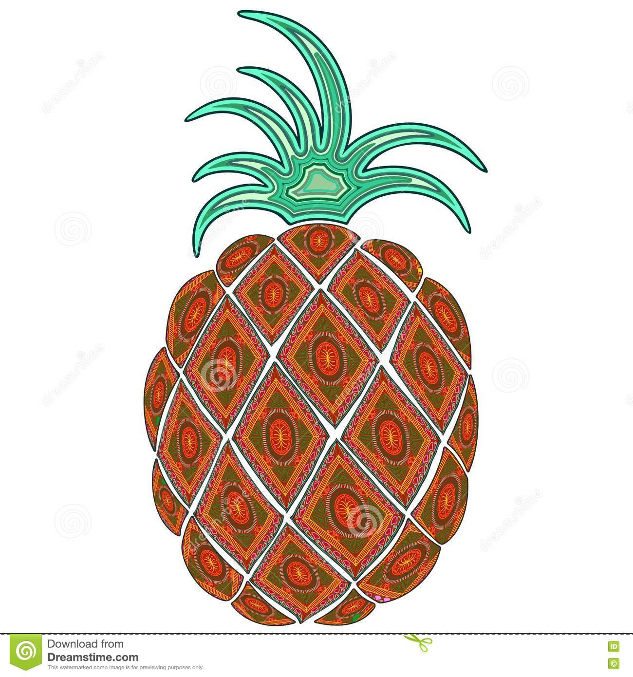 Pineapple Doodle Indian Pattern