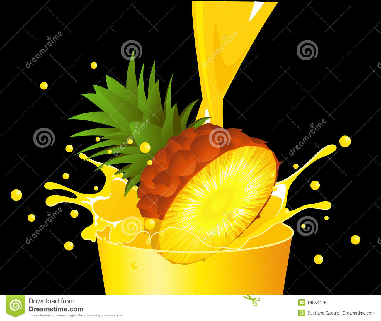 Pineapple falling in juice