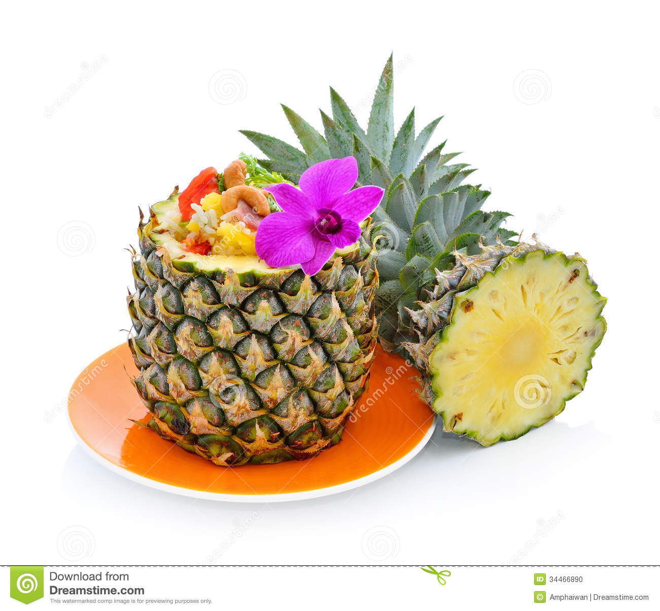 Pineapple fried rice stock photo image of delicious for Decoration ananas