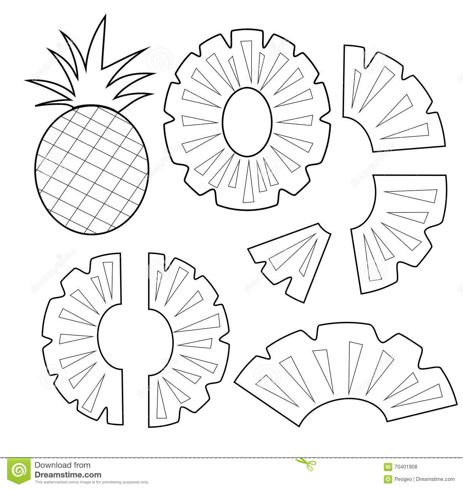 Pineapple Fruit Outline Version