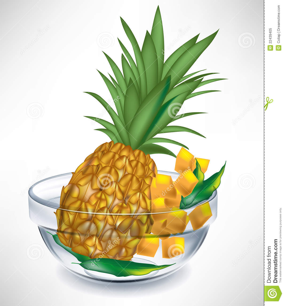 Pineapple Fruit And Slices In Bowl Royalty Free Stock Photo - Image ...