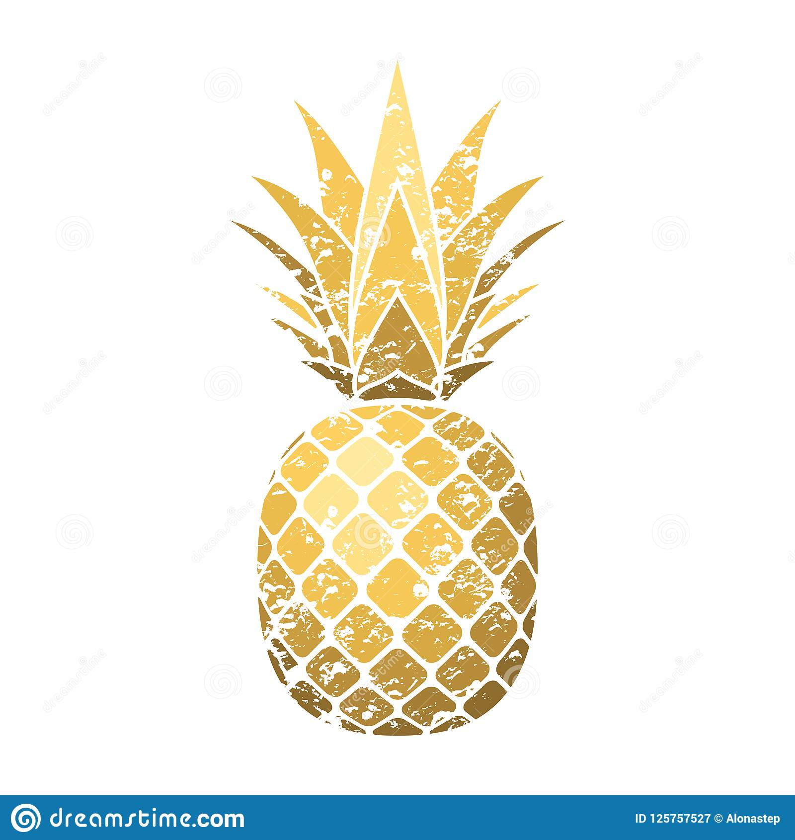 Pineapple grunge with leaf. Tropical gold exotic fruit isolated white background. Symbol of organic food, summer