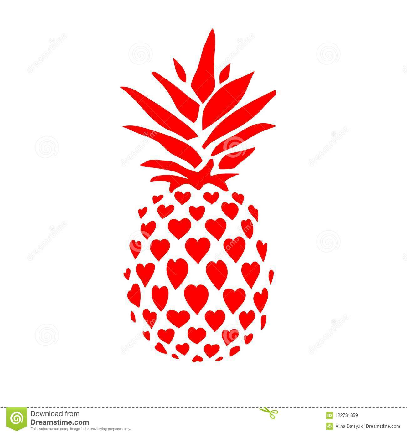 774412fca Pineapple. Hand Drawn Vector Illustration Isolated On White, Logo, T ...