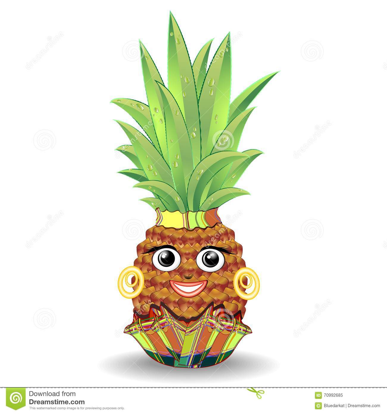 Pineapple Happy Face Stock Vector - Image: 70992685