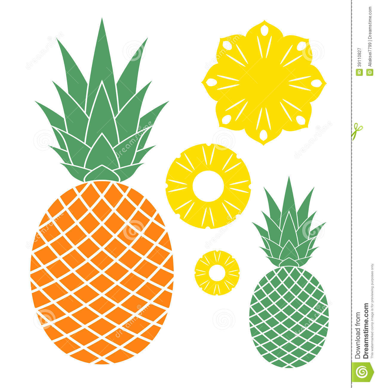 Pineapple  Isolated objects on white background  Vector illustration    Pineapple Logo Vector
