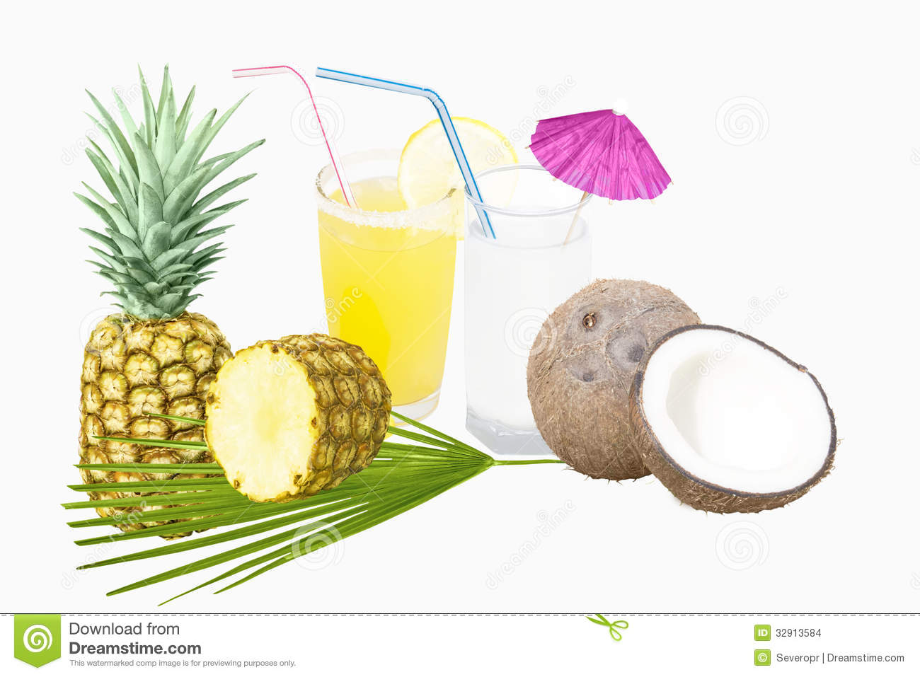 Pineapple juice and coconut milk with fruit