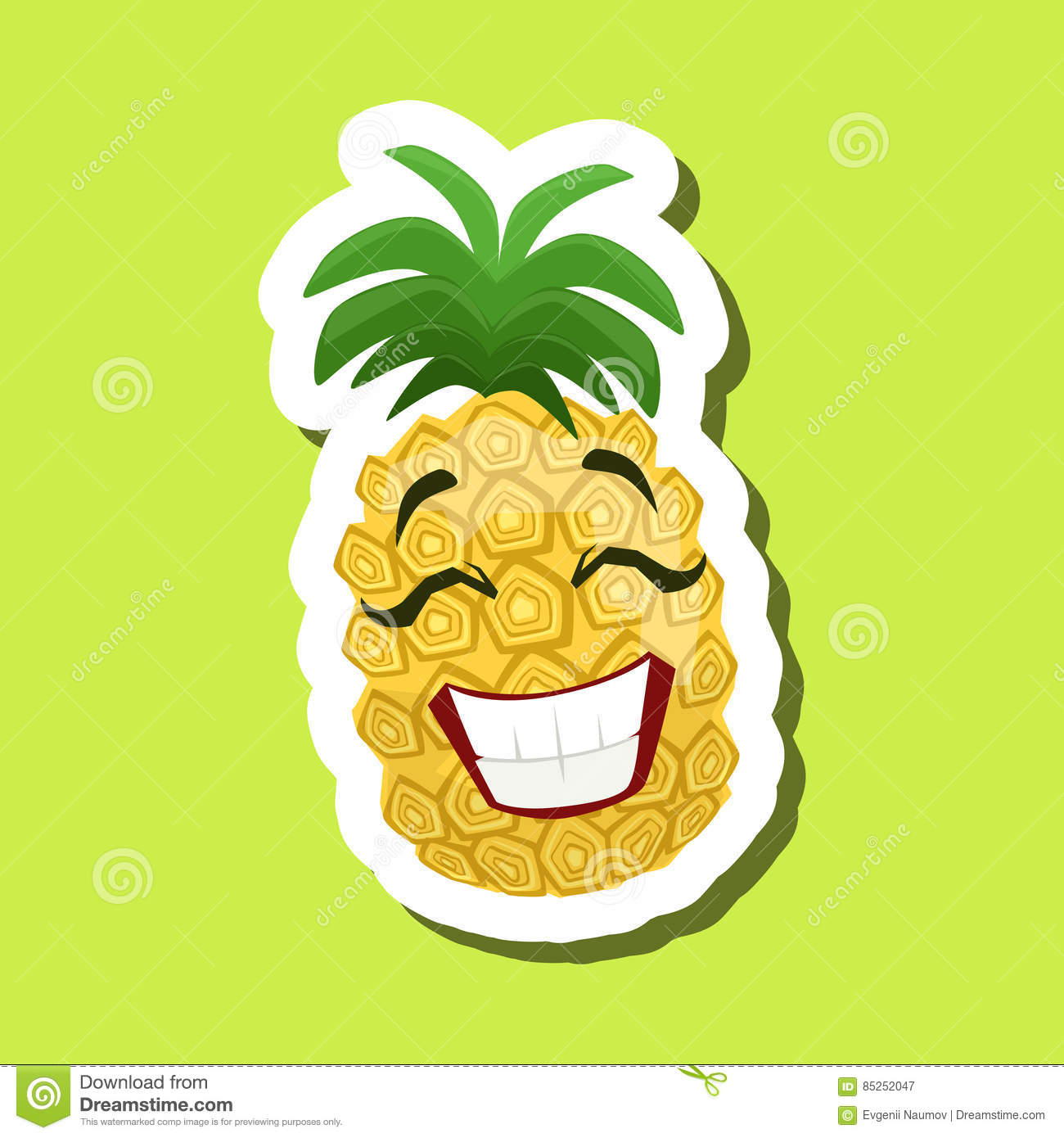 fc32b097d Pineapple Laughing, Cute Emoji Sticker On Green Background. Humanized  Tropical Fruit Character Isolated Icon In Colorful Cartoon Design.