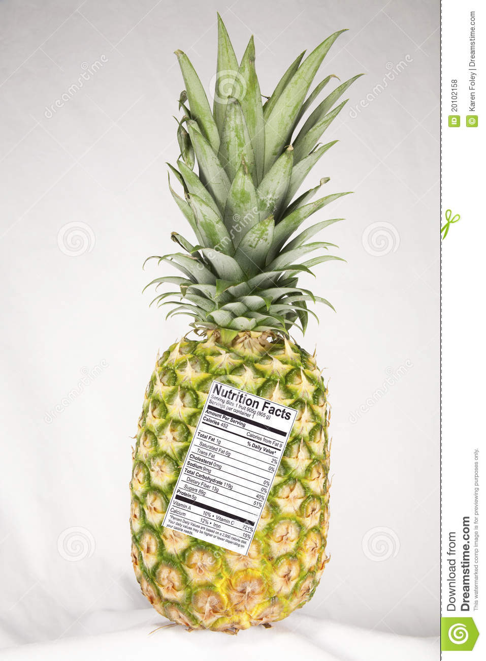 pineapple with nutrition label stock photo - image of allowance