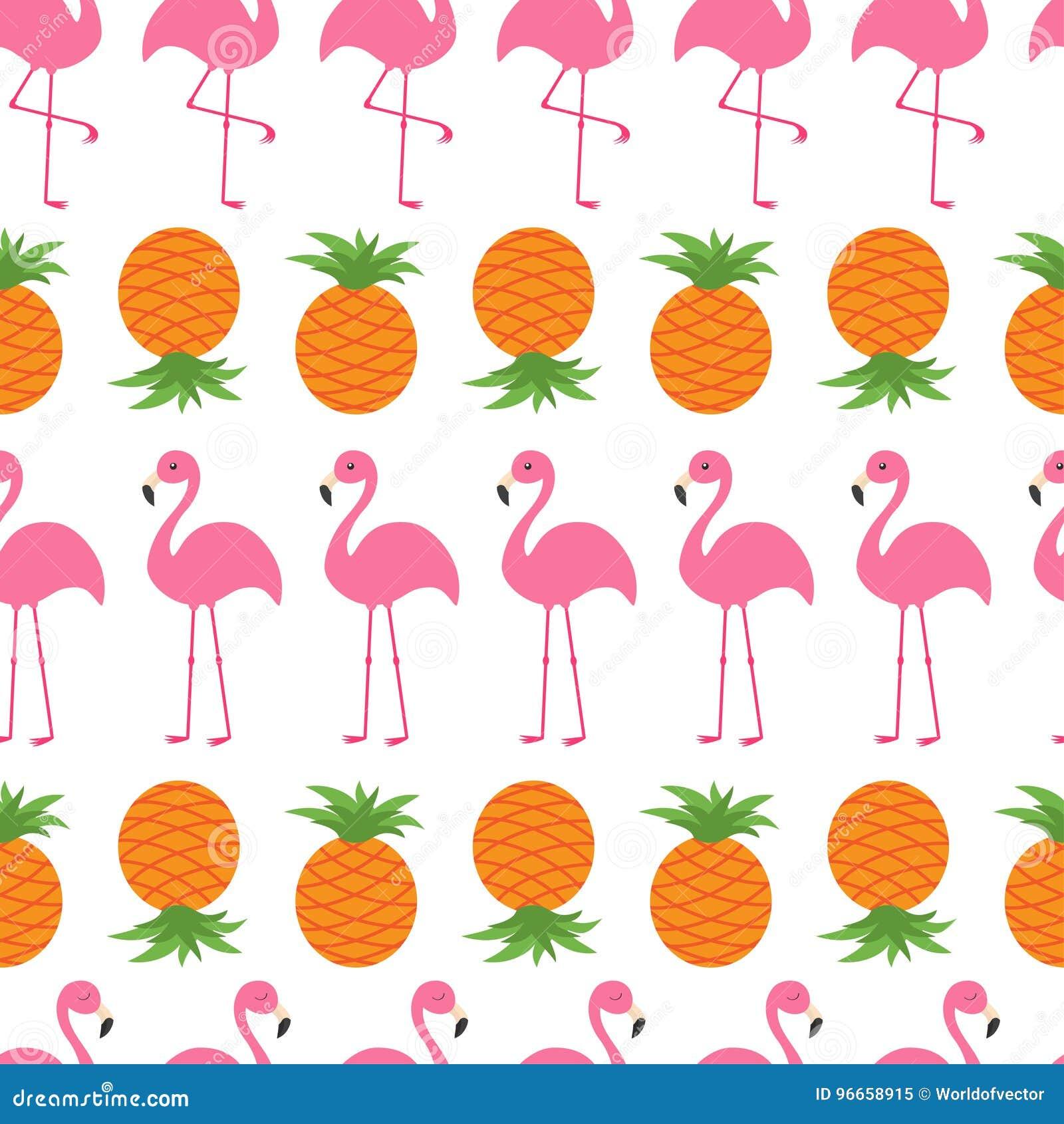 pineapple pink flamingo set seamless pattern wrapping paper