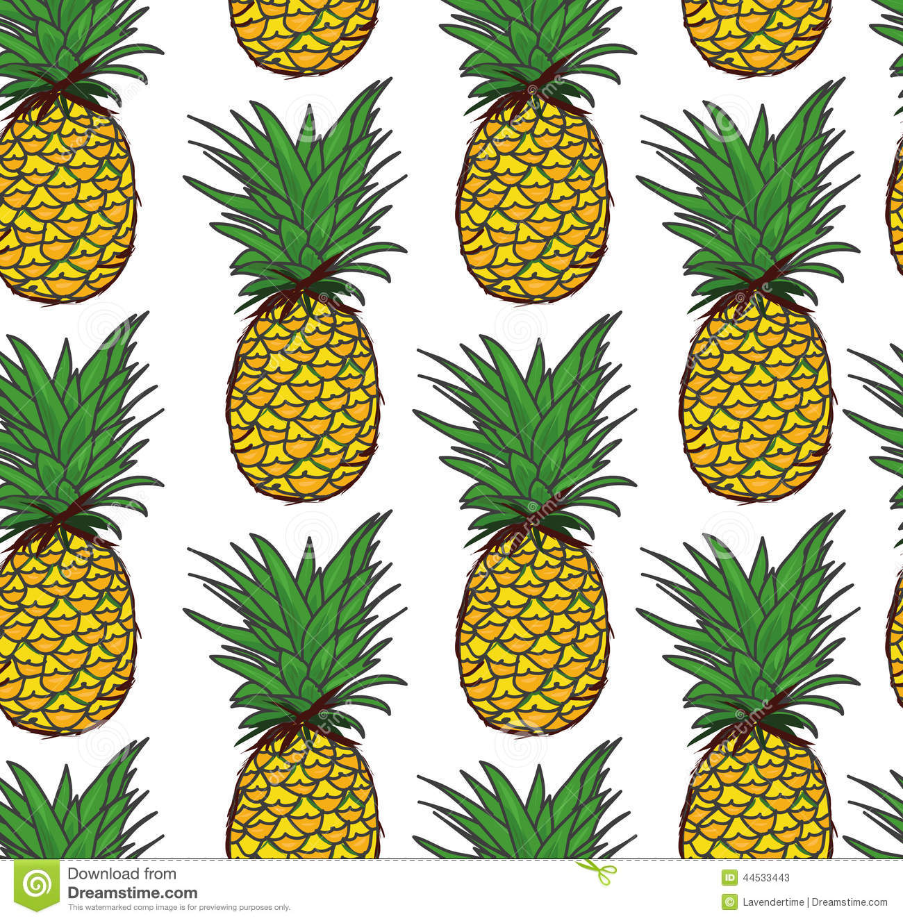 Pineapple Seamless Vector Pattern Stock Vector Image