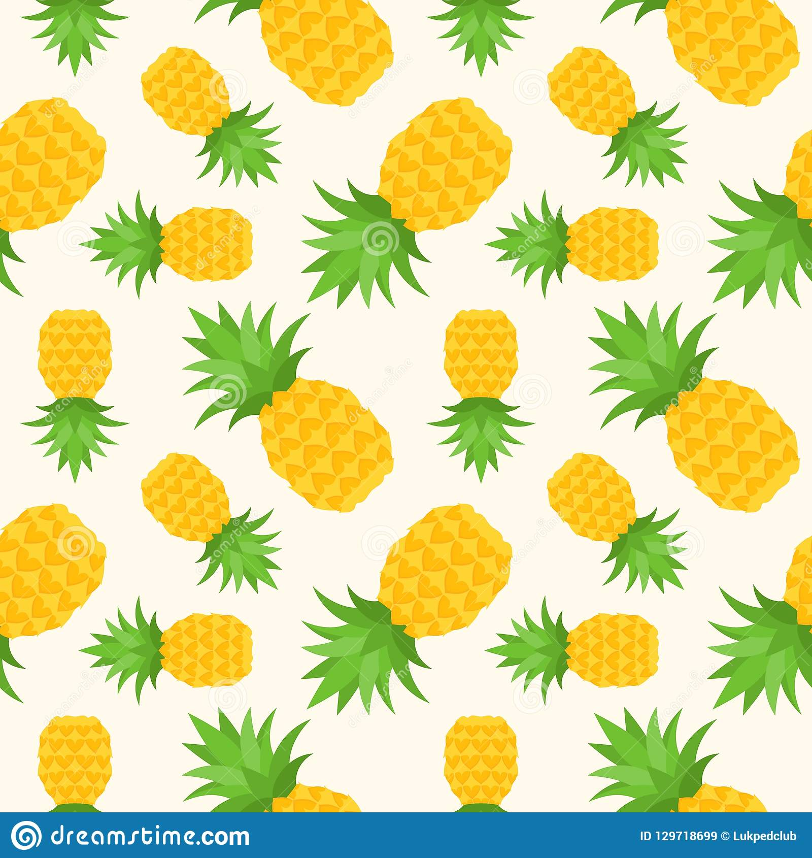 Pineapple Seamless Pattern, Flat Design Summer And Tropical Fruit