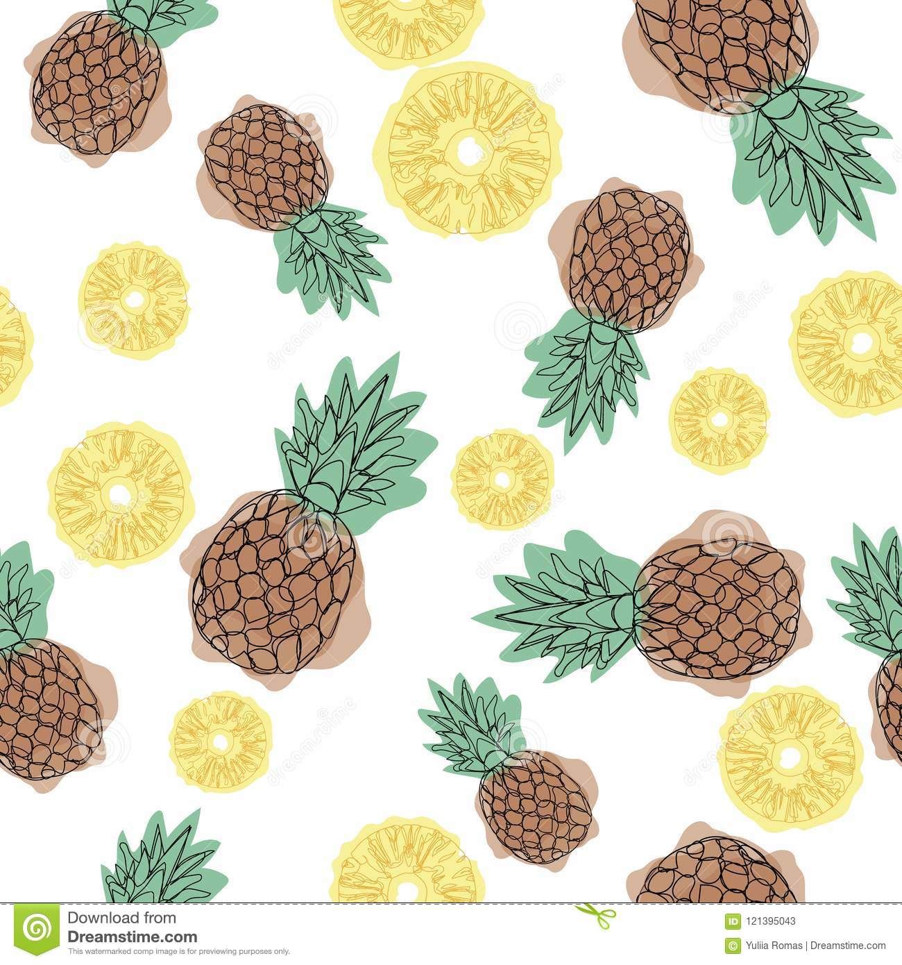 Pineapple Seamless Pattern On A White Background Design For