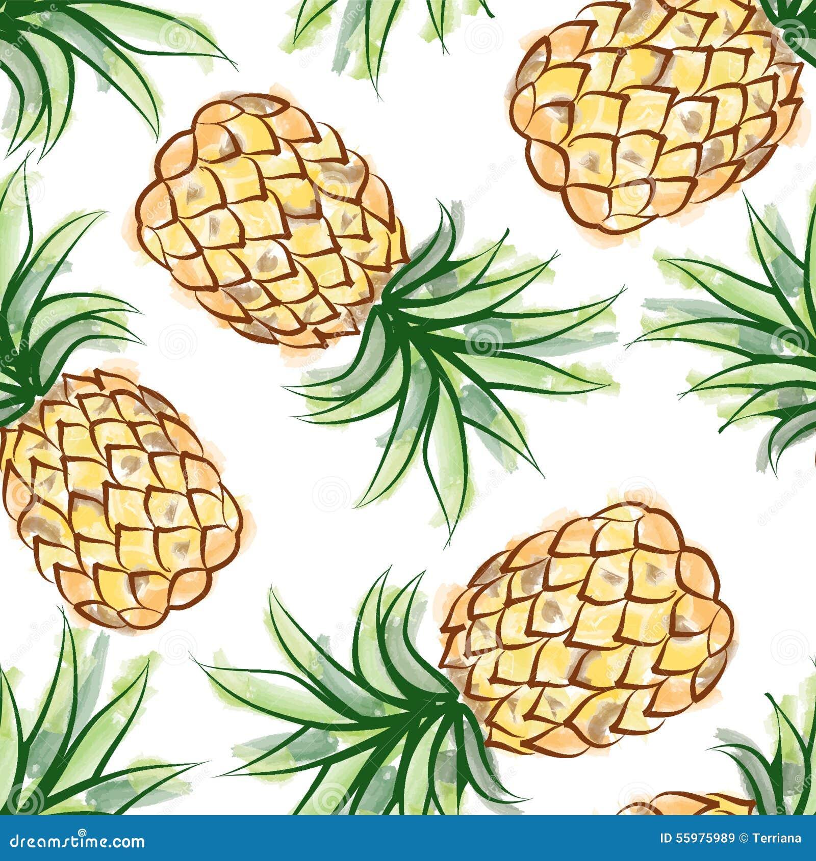 Pineapple Wallpaper Pattern Love Drawn