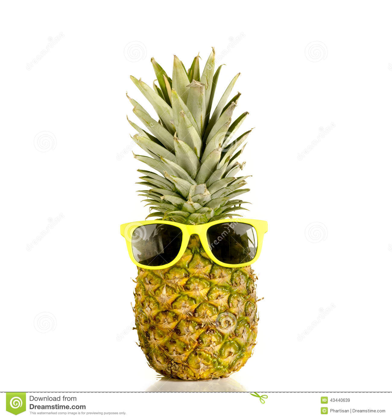 Photo of Pineapple wearing sunglasses isolated against white ...