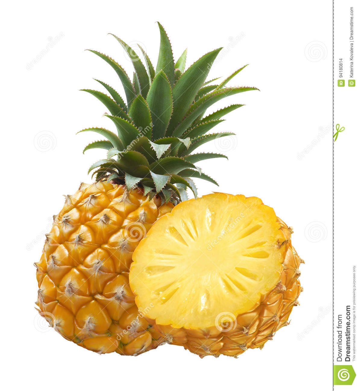 Pineapple whole and half isolated on white background