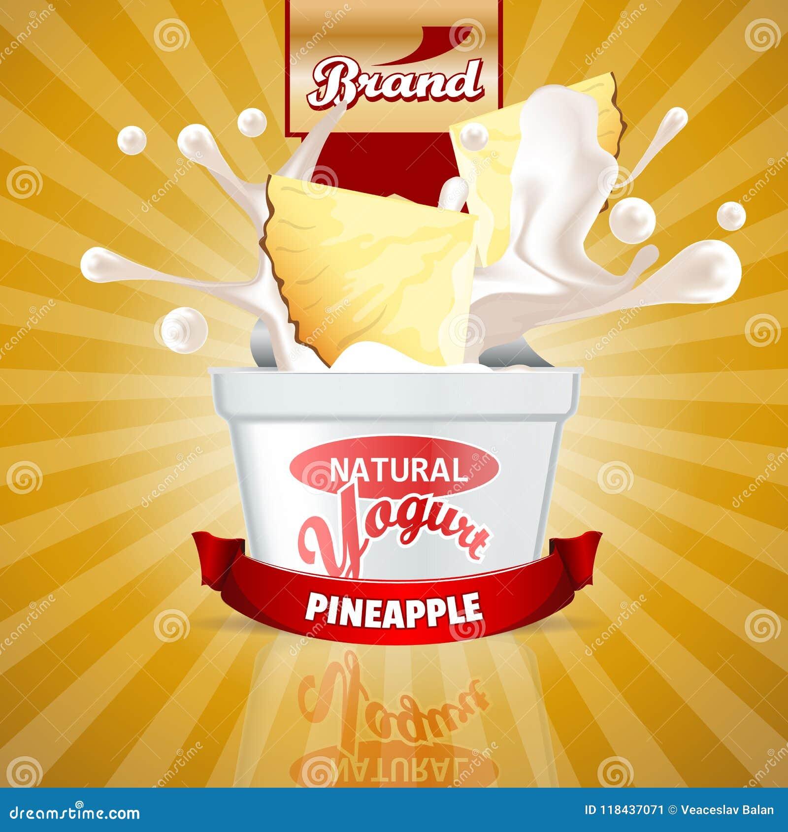 pineapple yogurt ads splashing scene with package and fruits