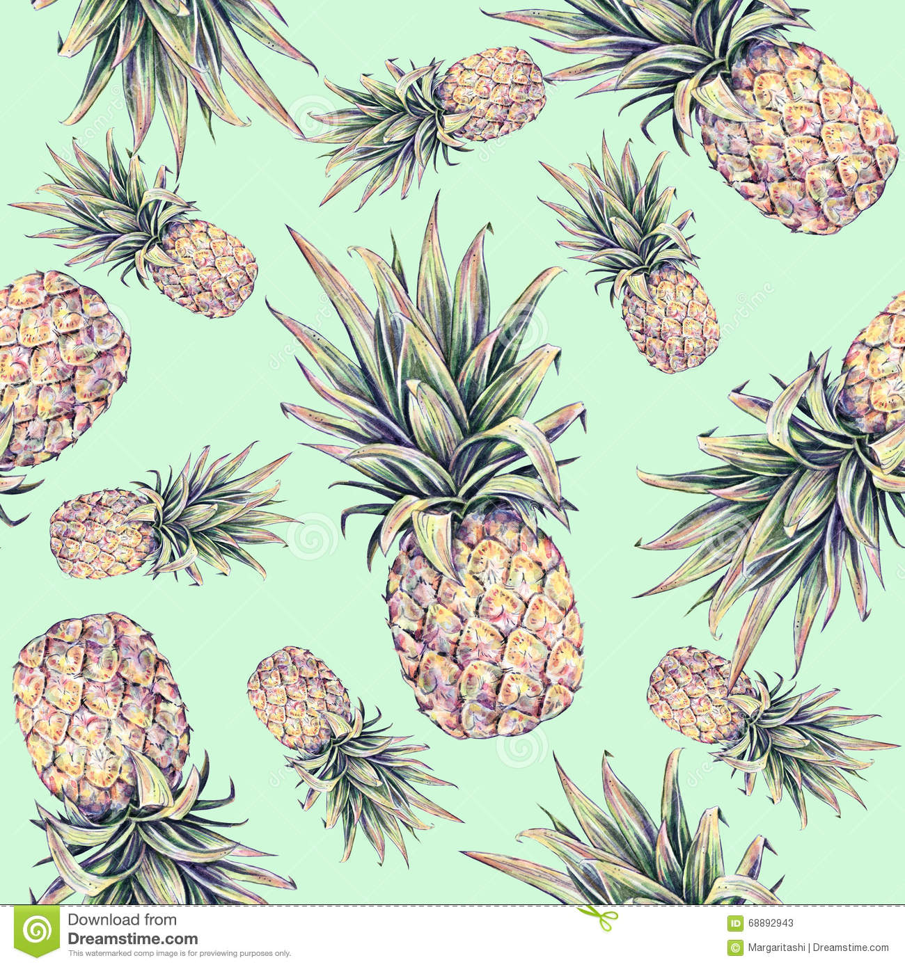 pineapples on a light green background watercolor