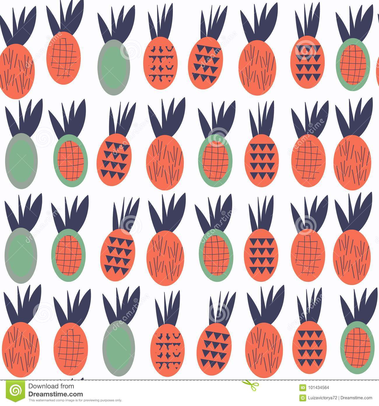 Pineapples seamless abstract fruits patten. It is located in swatch menu, vector image