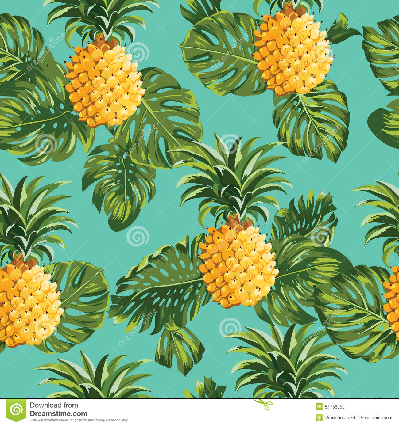 Pineapples And Tropical Leaves Background Stock Vector ...