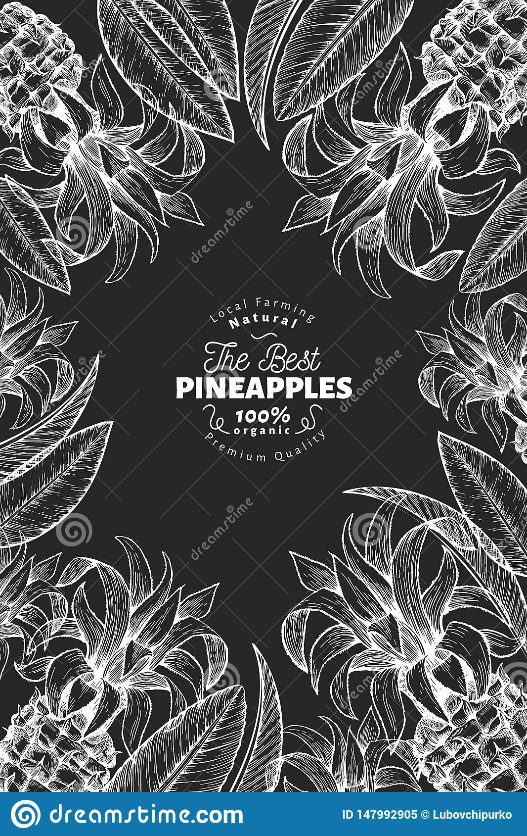 Pineapples and tropical leaves design template. Hand drawn tropical fruit illustration on chalk board. Engraved style