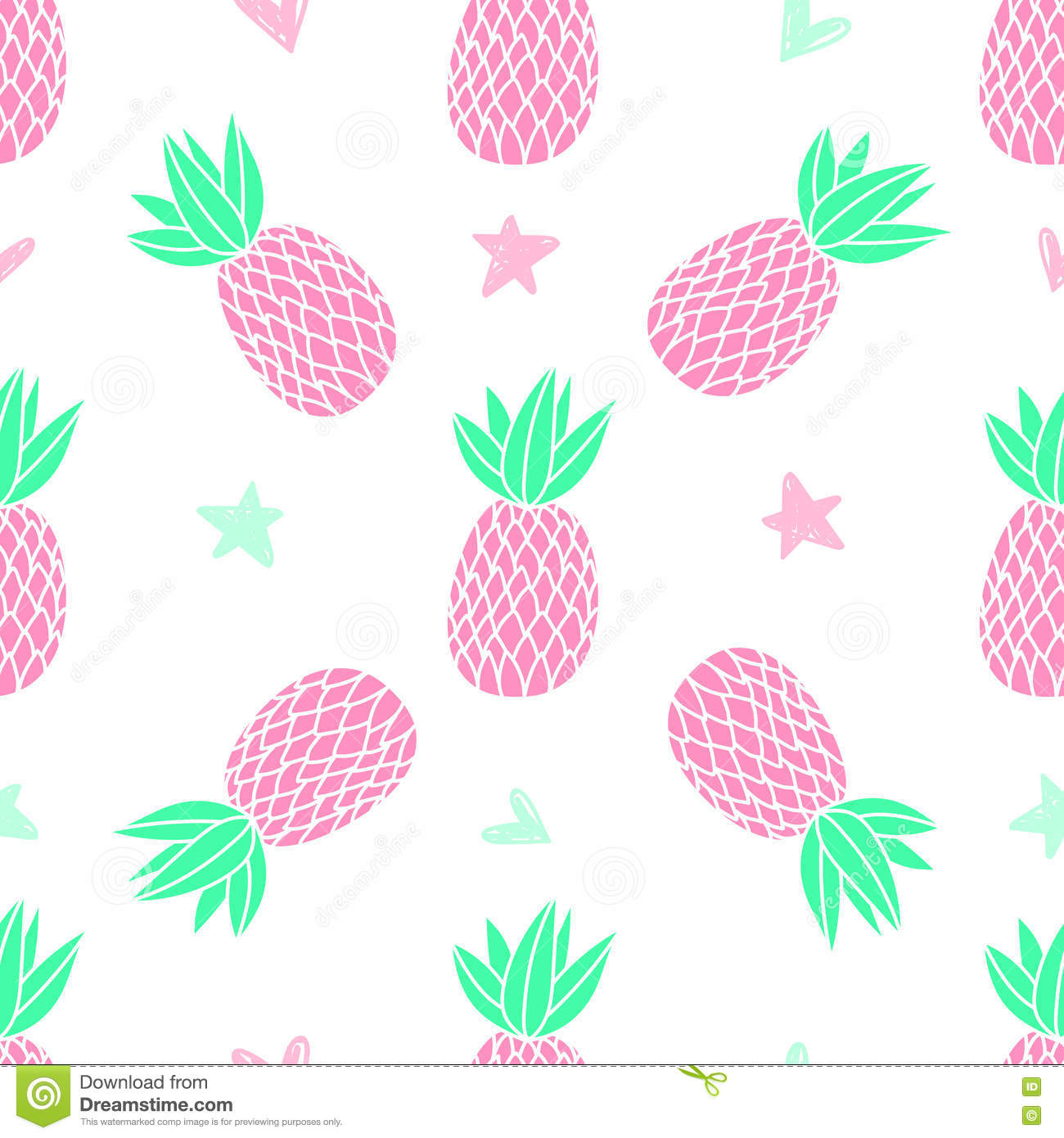 pineapples white background vector seamless pattern tropical fruit cute girl style pink 77725958