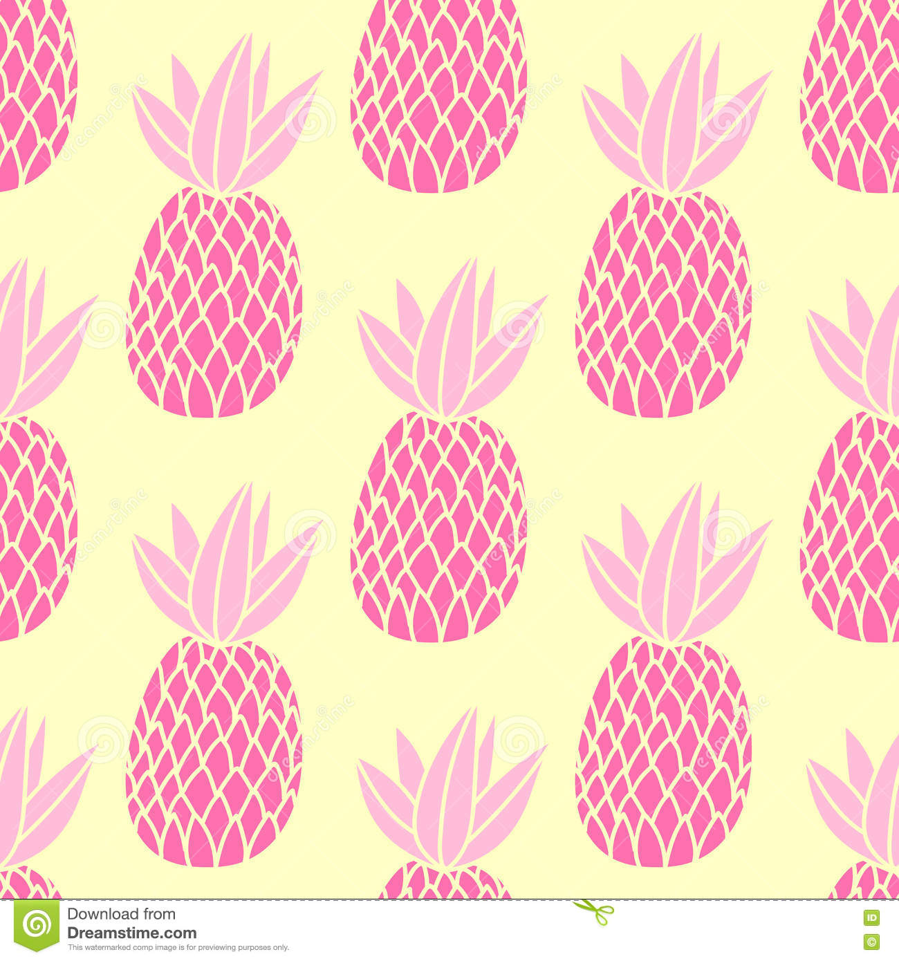 Pineapples on the white background. Vector seamless pattern with tropical fruit. Cute girl style, pink and yellow