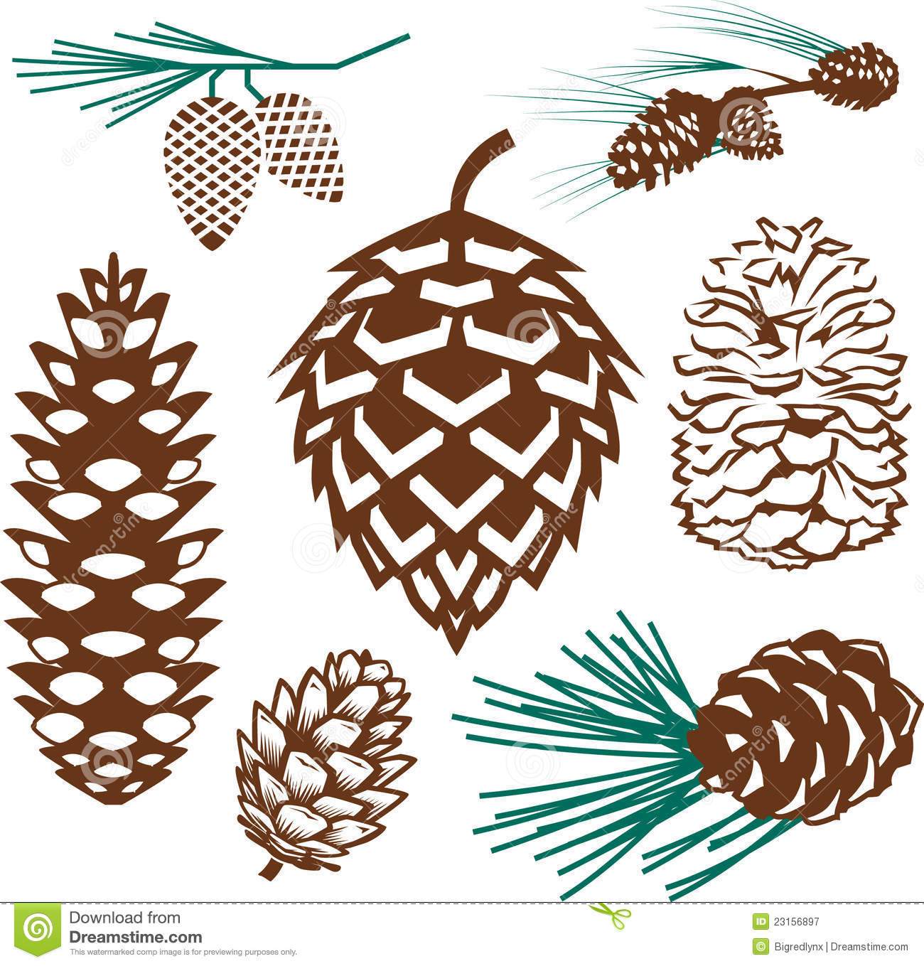 Clip art collection of various styles of pinecone.