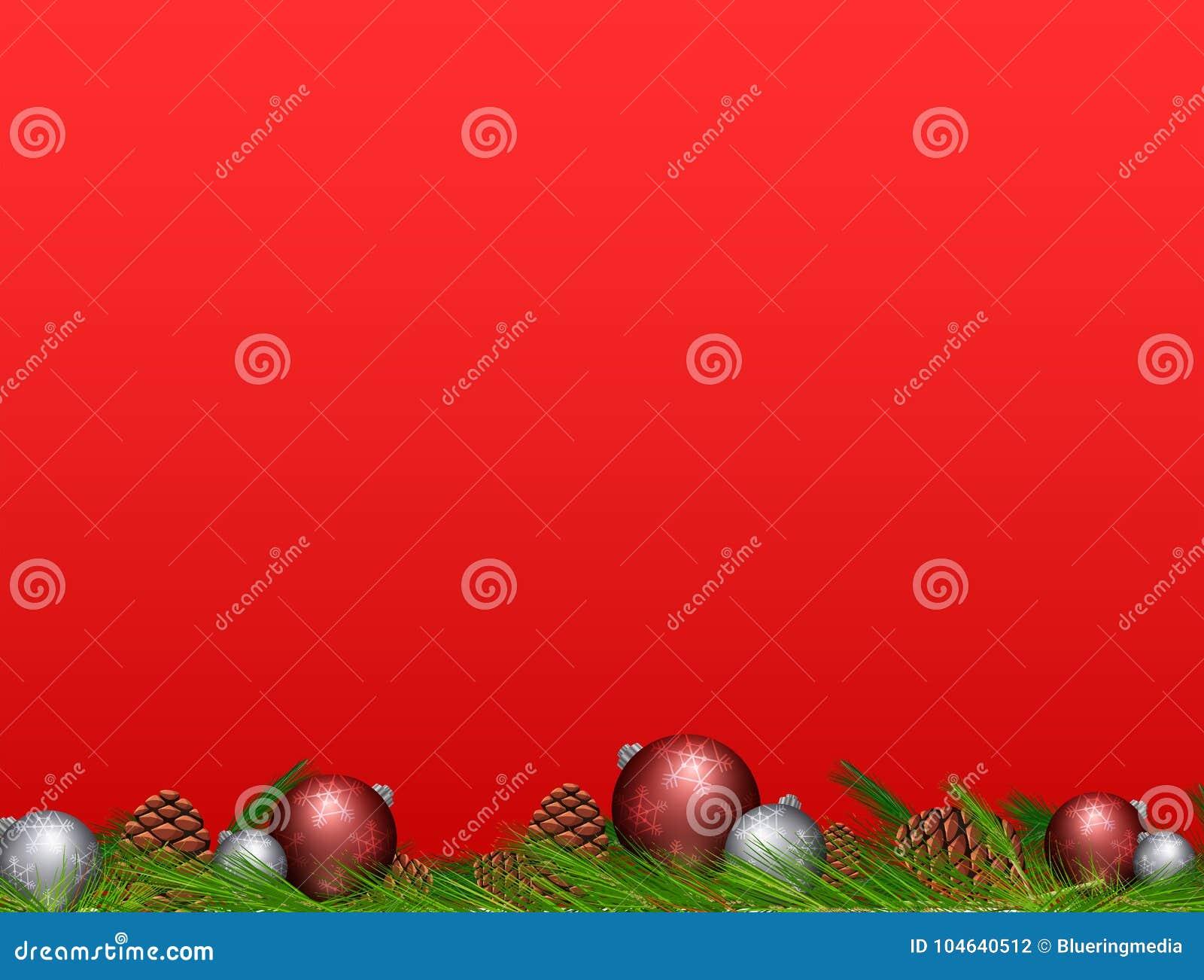 Download Pinecone En Kerstmisballen Op Rode Achtergrond Vector Illustratie - Illustratie bestaande uit vrolijk, beeld: 104640512