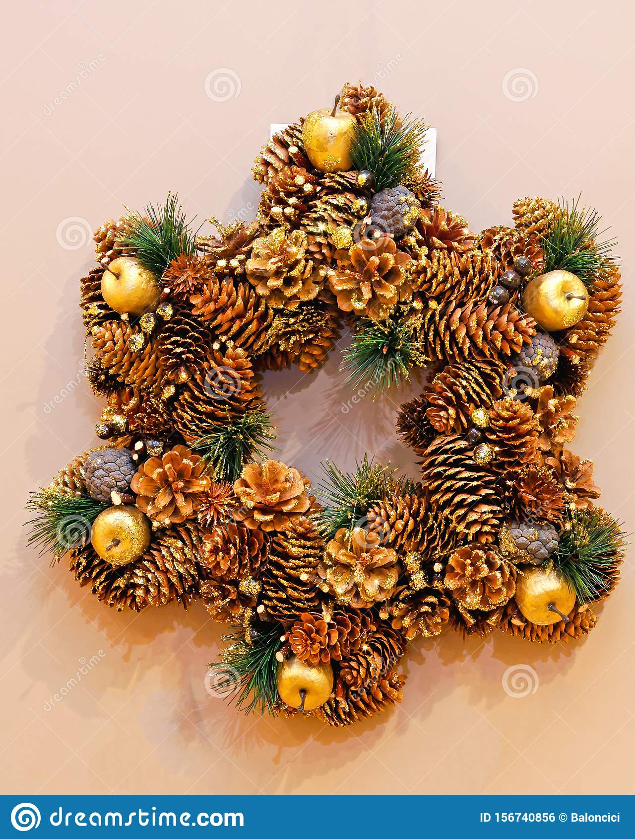 Pinecone Wreath Stock Photo Image Of Wall Christmas 156740856