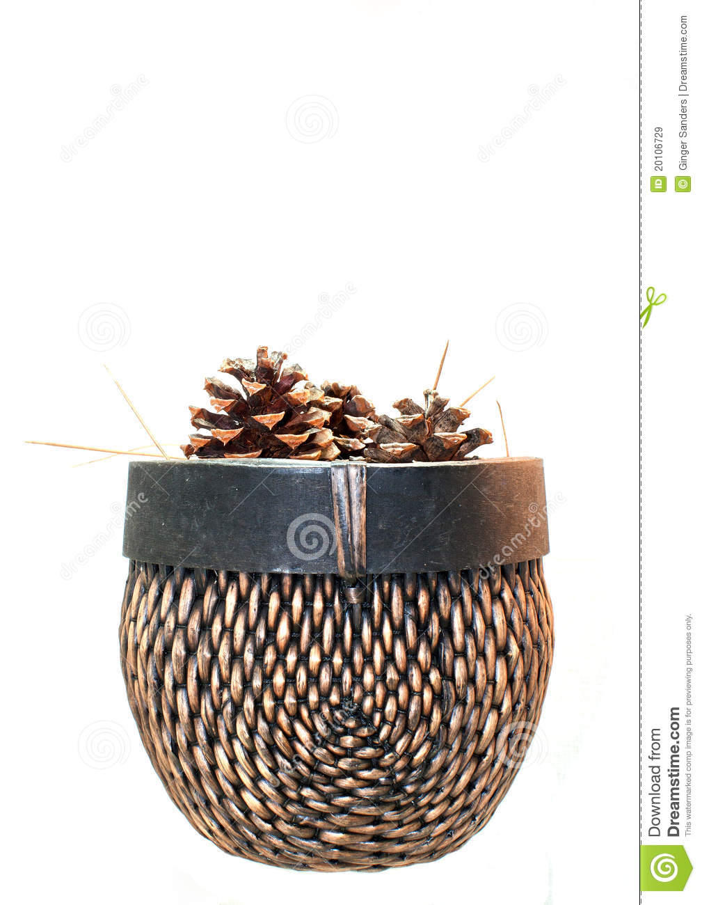 Pinecones in A Woven Basket
