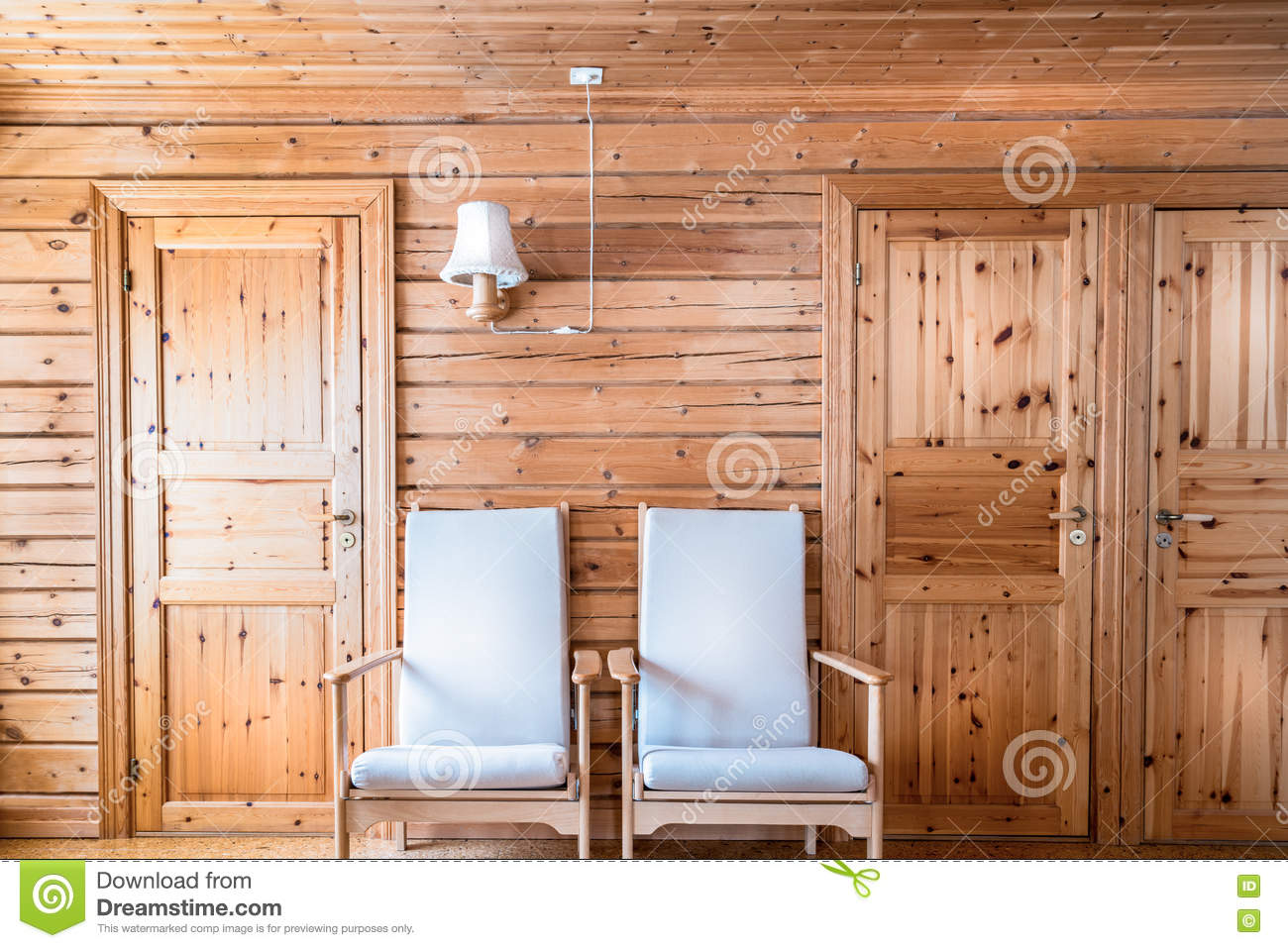Pinewood Interior Wall Armchairs And Doors Cabin Cottage.