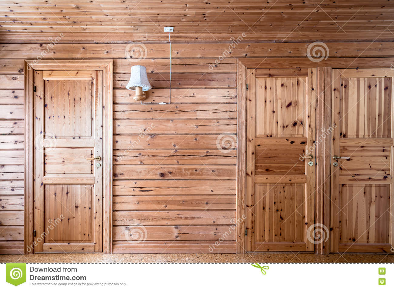 Pinewood Interior Wall And Doors, Cabin Cottage.