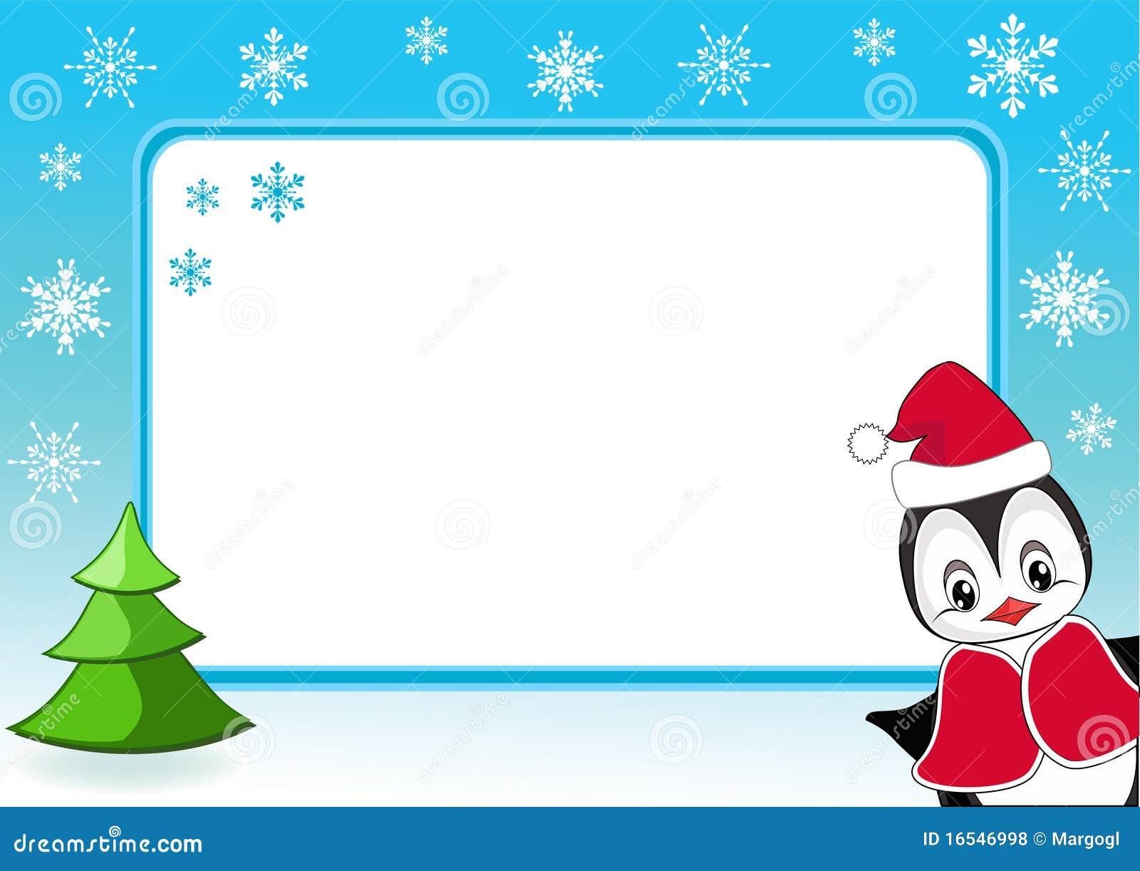 Pingüino Del Bebé. Marco De La Foto De La Navidad. Ilustración del ...