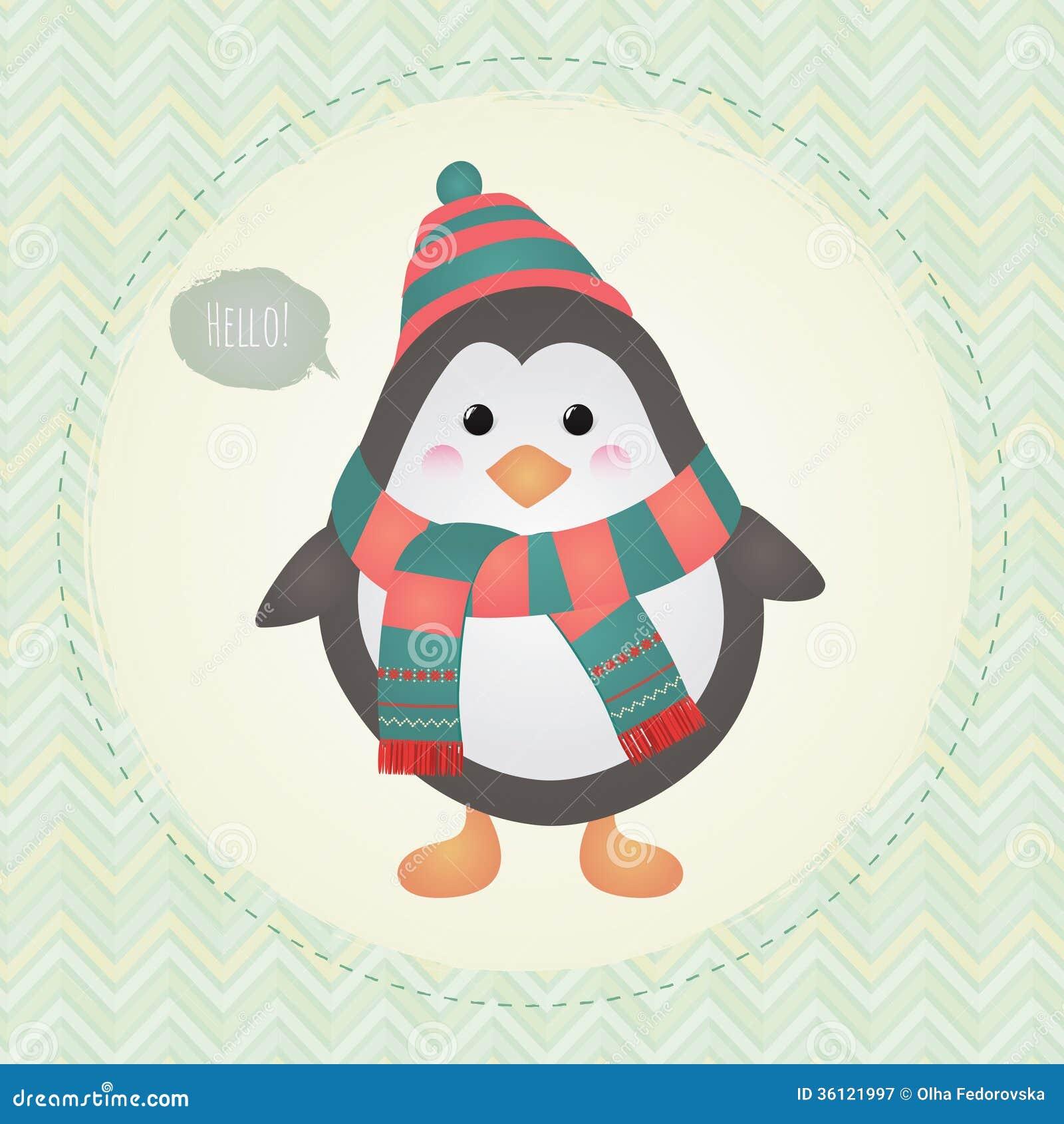 Pingüino lindo en el ejemplo texturizado del diseño del capítulo
