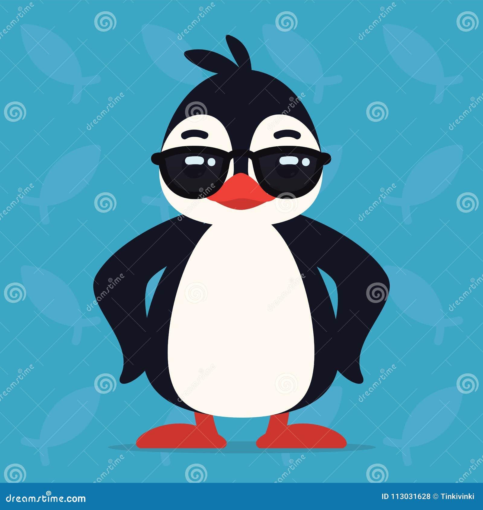 Pingüino lindo que se coloca en actitud fresca El ejemplo del vector del pájaro ártico en gafas de sol muestra la emoción impresi
