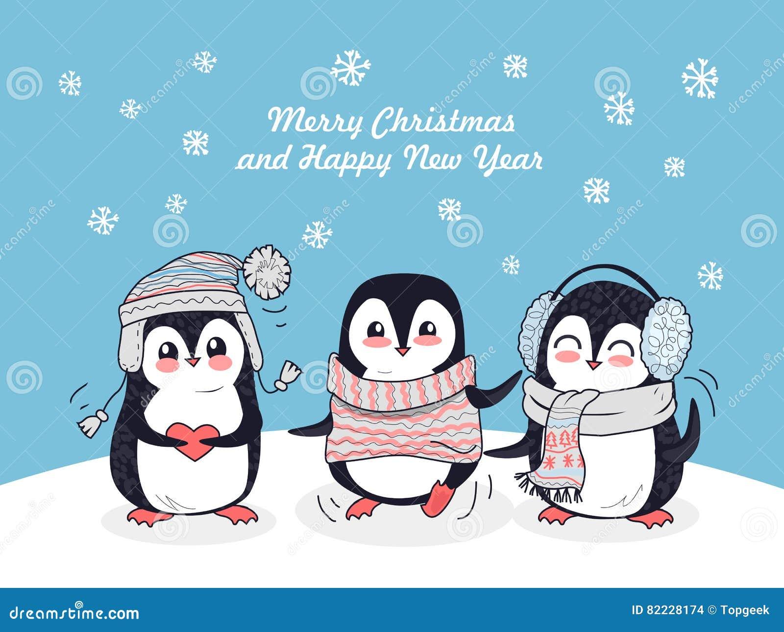 Pingüinos De La Feliz Navidad Y Del Cartel De La Feliz Año Nuevo