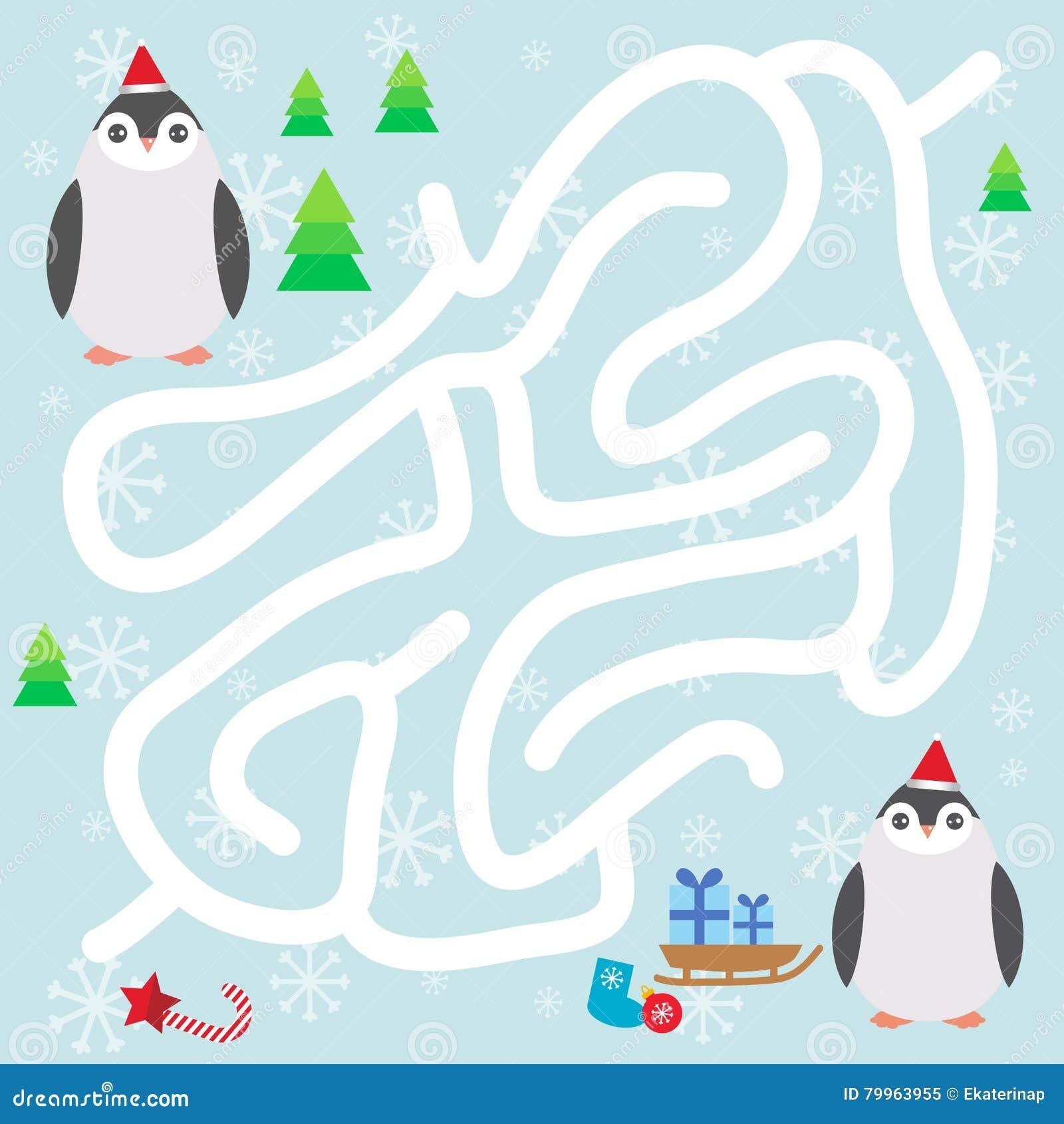Pinguinos Divertidos En El Sombrero Los Copos De Nieve Y Los