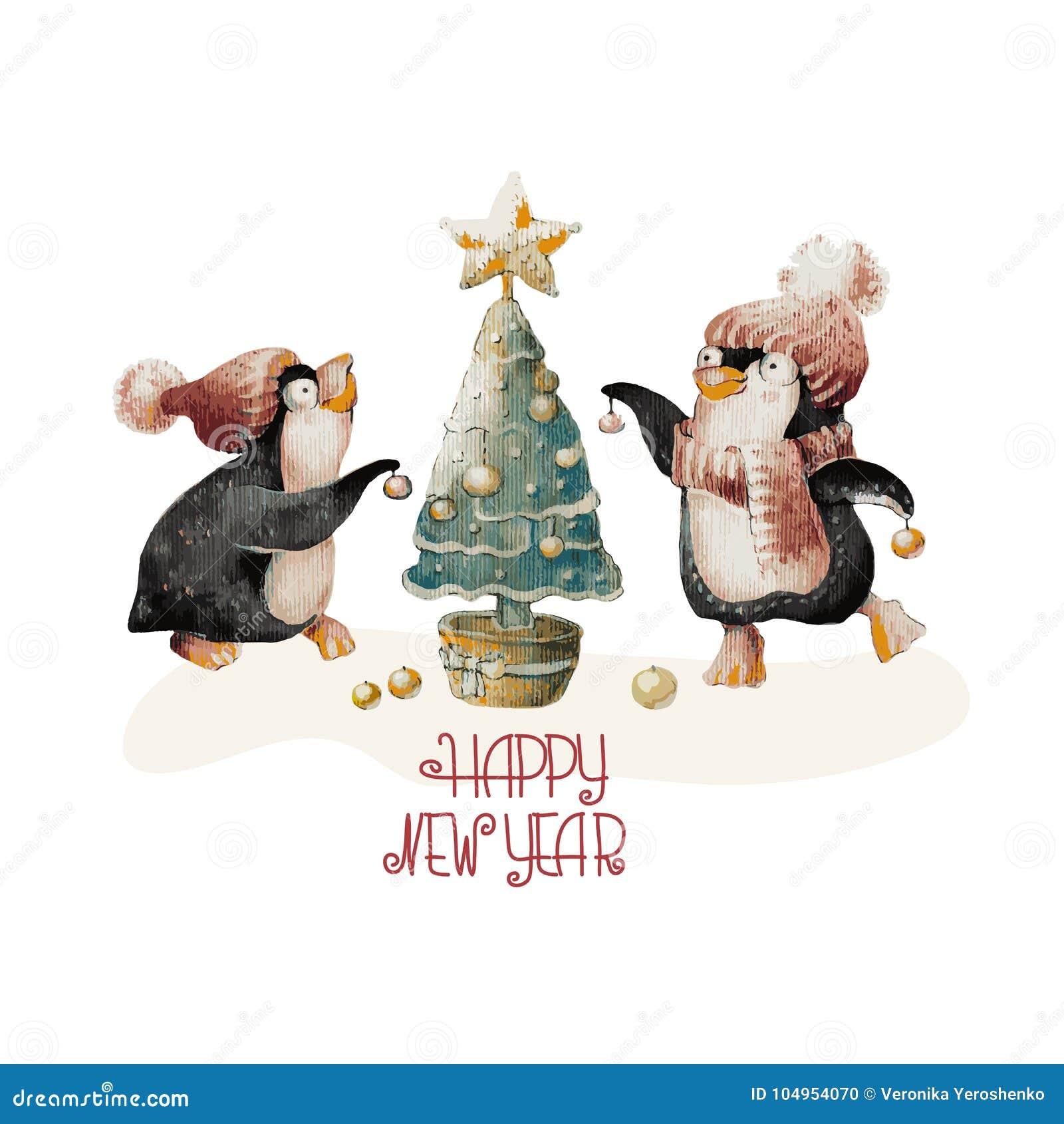 Pingüinos Lindos De La Acuarela En Sombreros Y árbol De Navidad ...