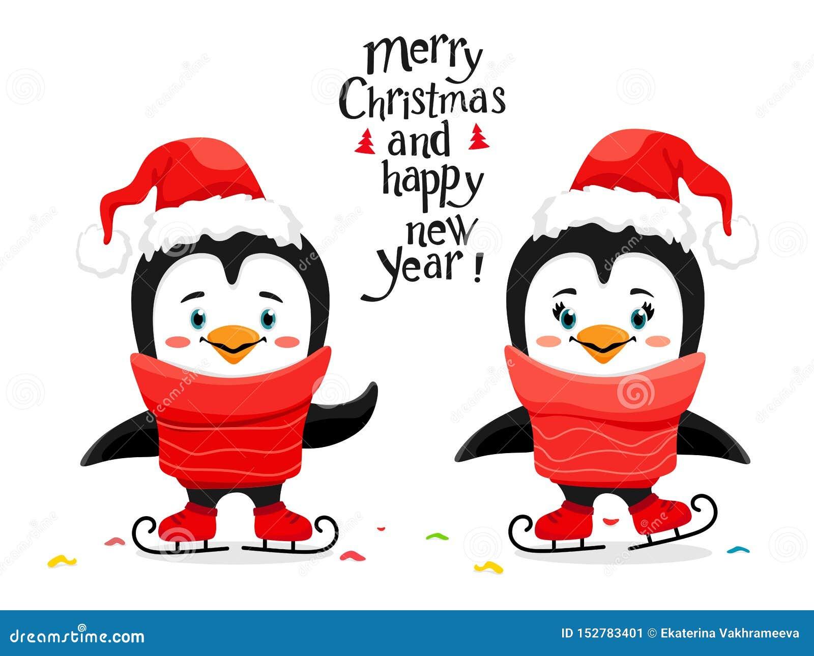Pingüinos lindos del patinaje de hielo con un sombrero de Papá Noel en un estilo de la historieta Letras manuscritas Ilustraci?n