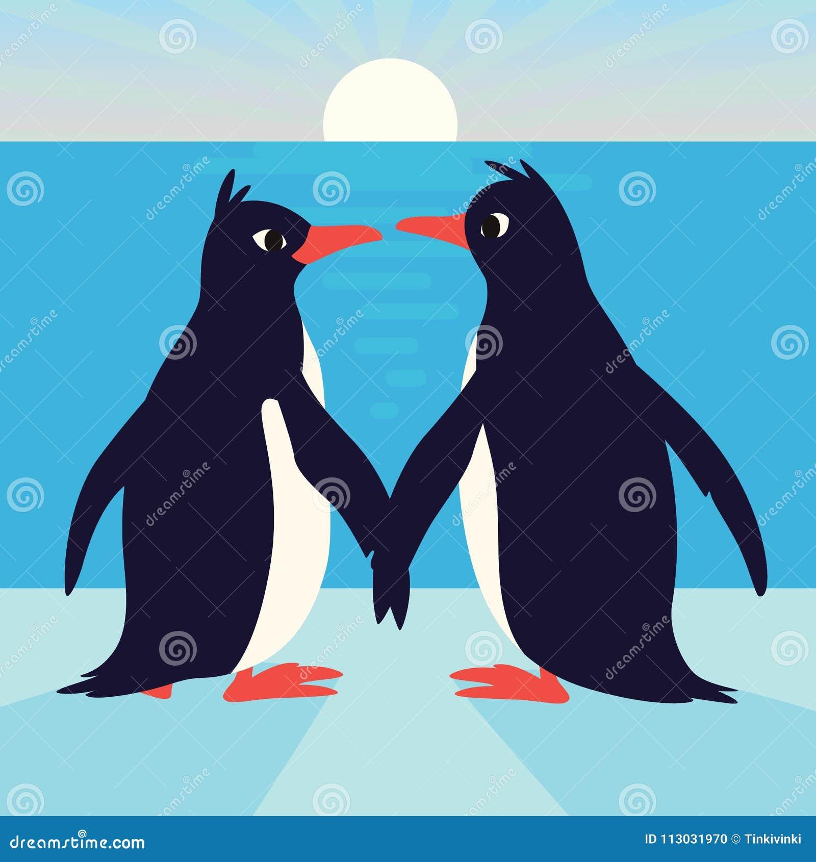 Pingüinos lindos en amor Familia de pájaros que sostienen sus alas y que miran uno a Ejemplo colorido del vector adentro