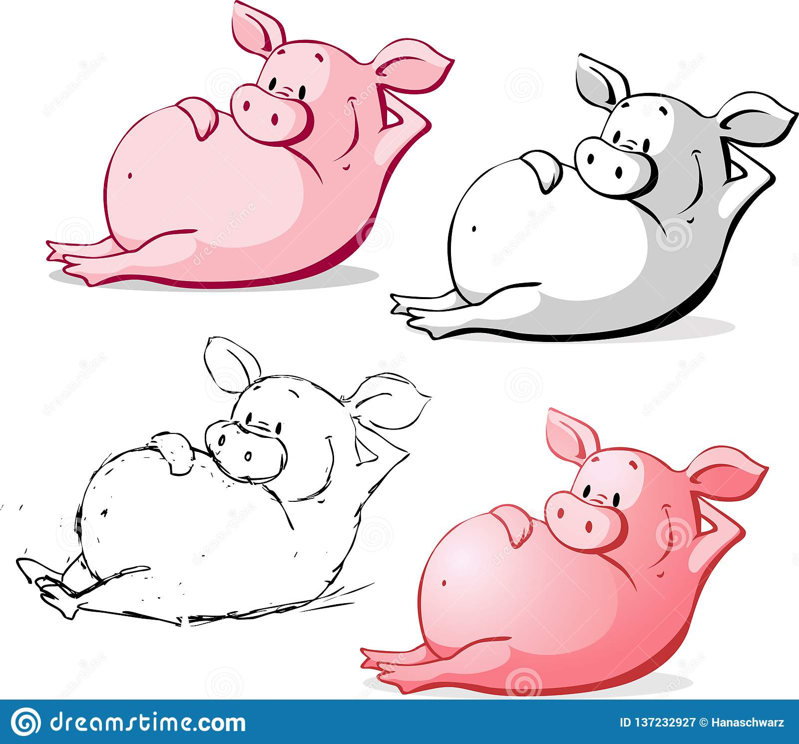 Ping Pig Cartoon Vector Illustration mignonne