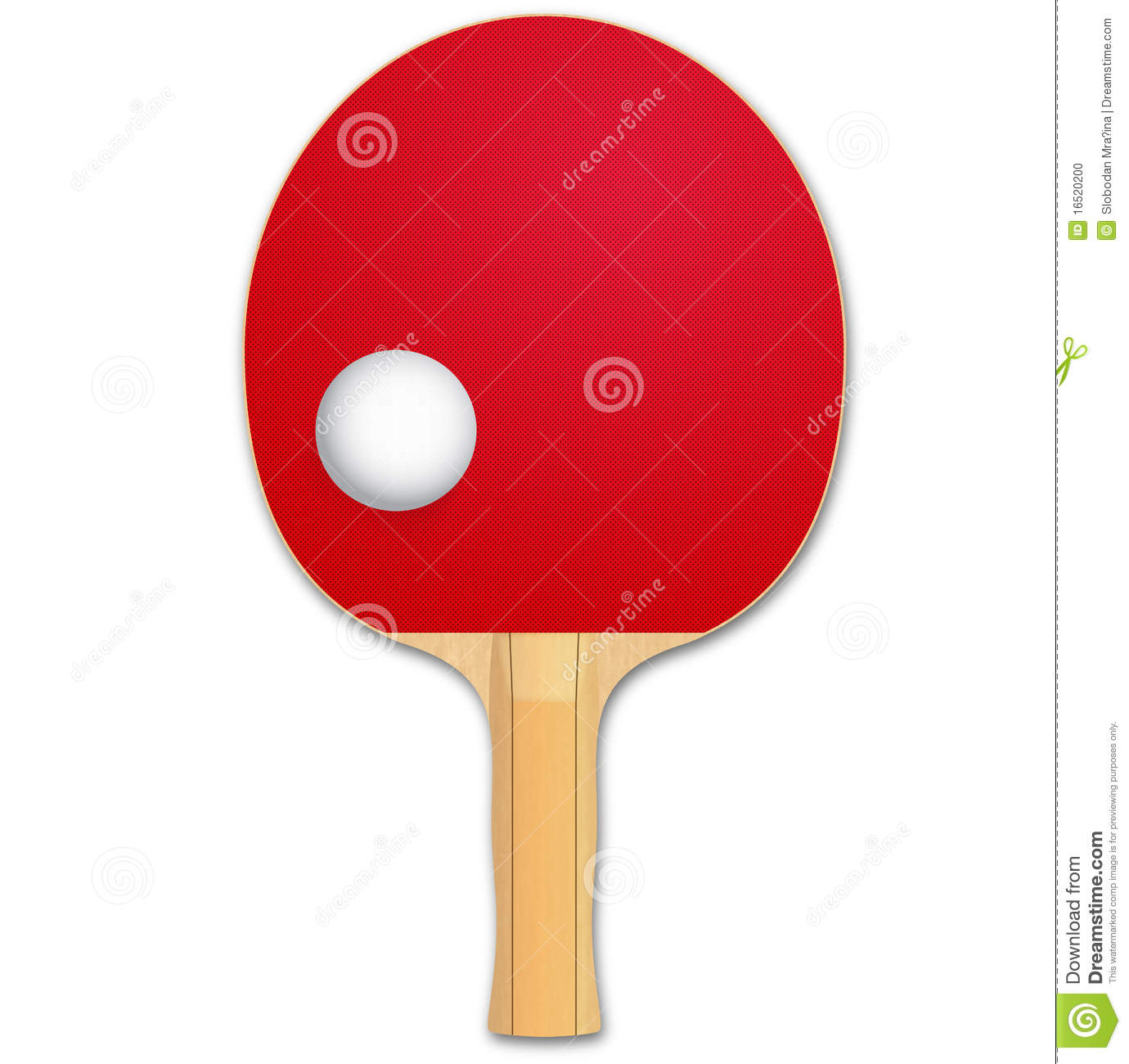 Ping Pong Pad And Ball Illustration Smooth Shadow And Detailed