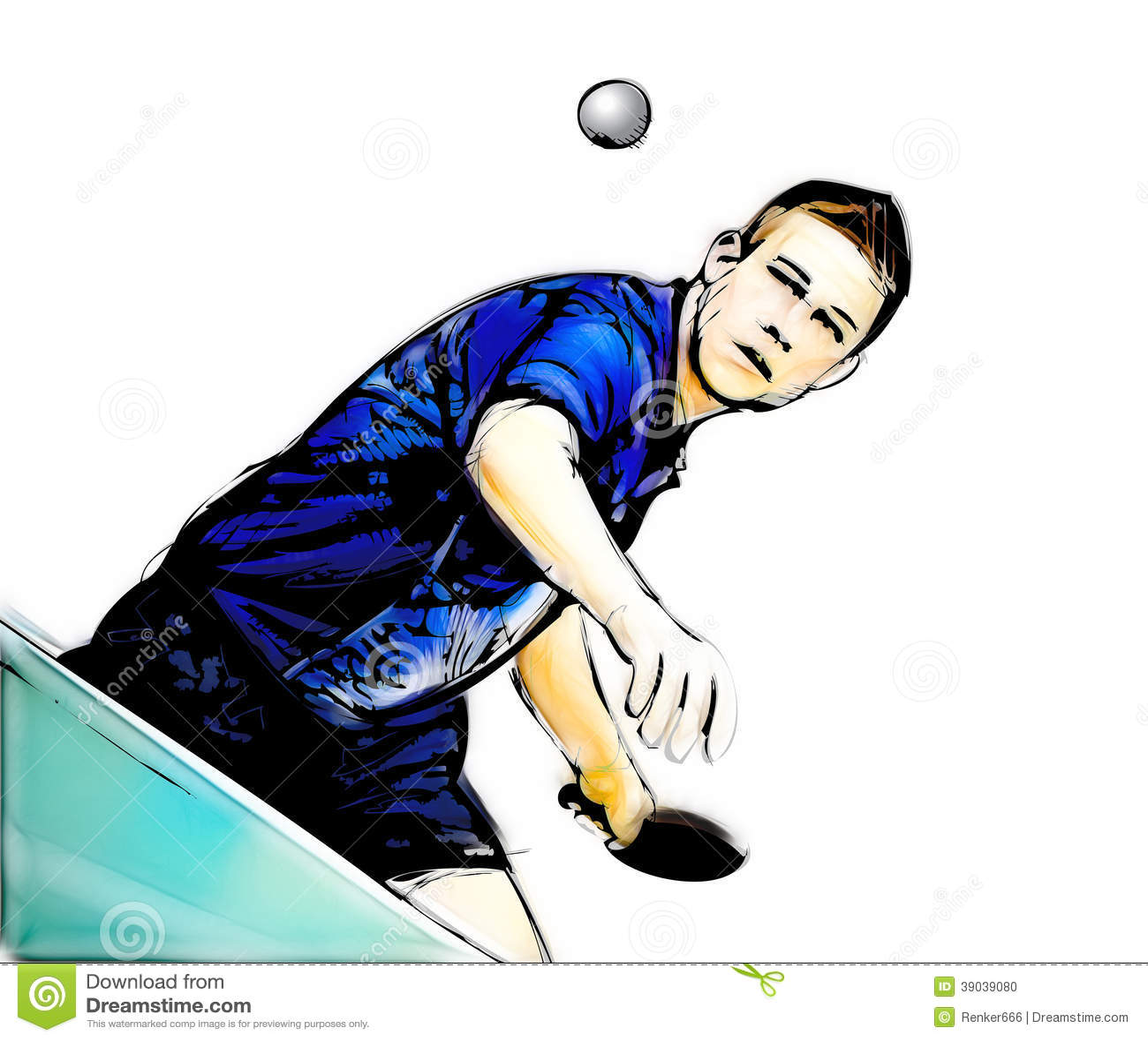 Ping Pong Player Illustration Stock Illustration Image
