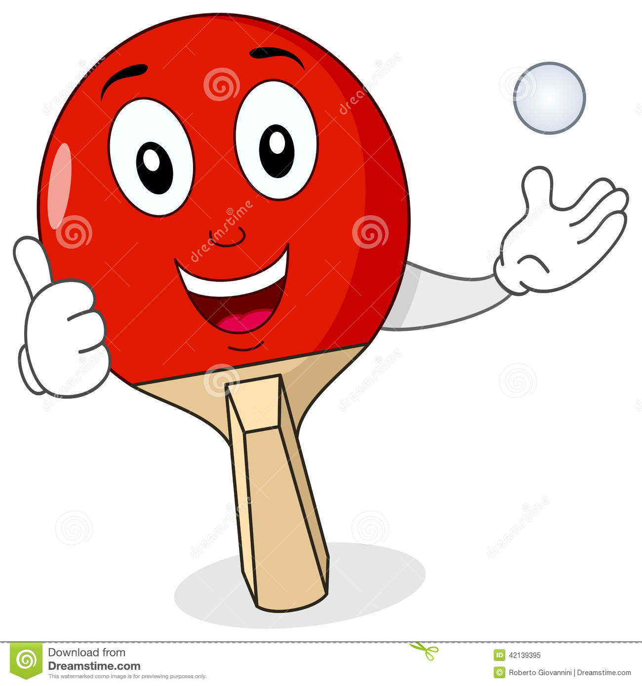 cheerful cartoon red ping pong or table tennis racket character with ...